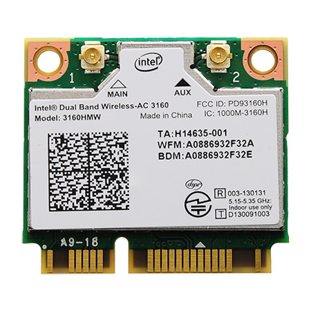 Intel dual band wirelessac 3160 specs