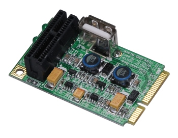 PM2 (Mini PCI-E to PCI-E, USB Adapter) - M-FACTORS Storage: http://www.mfactors.com/products/PM2-28Mini-PCI252dE-to-PCI252dE2C-USB-Adapter29.html